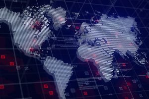 Digital World Map Hologram Blue Background
